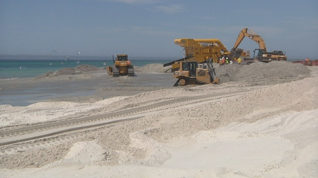 First sand in Beach Renourishment Project pumped at County Pier
