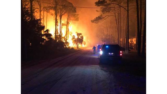 Large Fire Threatening Homes on St. George Island