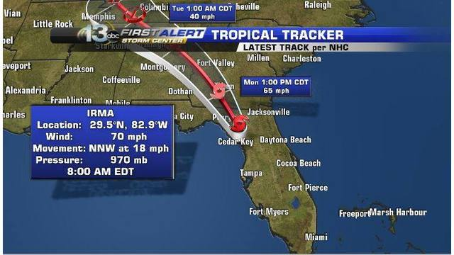 Tropical Storm Irma Monday 10 a.m. Update