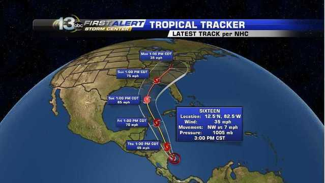Tropical Depression 16 Updated Advisory from The National Hurricane Center