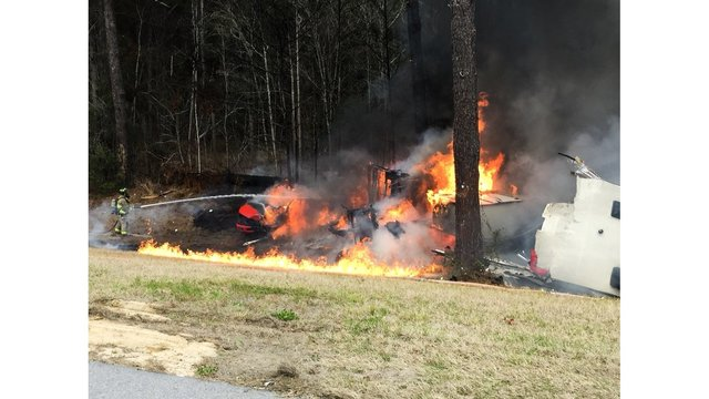 First Responders on Scene at Fiery Crash
