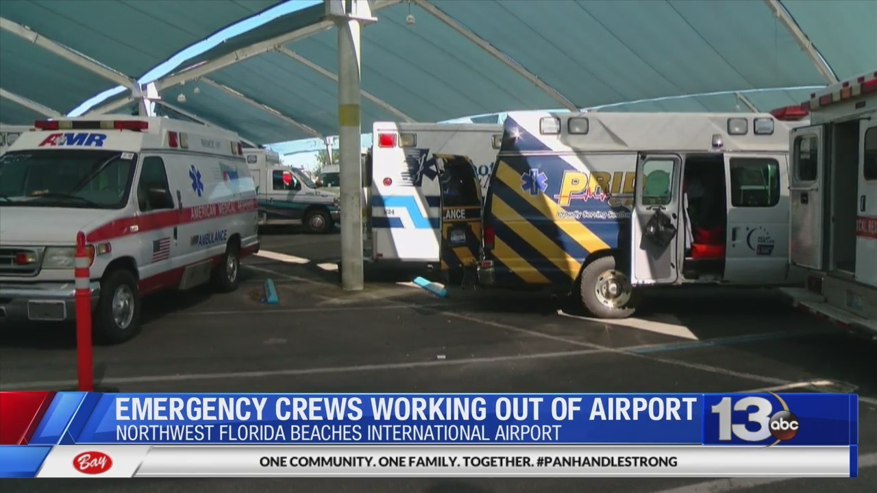 Emergency crews working out of airport after Hurricane Michael